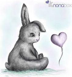 Esta conejita, llamada Nona, es la mascota y logo de www.nonabox.com ¡Descubre nuestra empresita para embarazadas y mamás! - #ilustracion #illustration #illo #rabbit #bunny #conejo #infantil #animal #cute #corazon #conejito #shy #baby