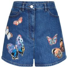 Valentino Butterflies Denim Shorts (£960) ❤ liked on Polyvore featuring shorts, short jean shorts, denim shorts, embroidered shorts, ruffle shorts and leather shorts