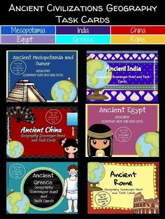 Don't just ask your kids to label a bunch of stuff on a map! Make them develop their map skills and their ability to follow directions by having them identify physical features using a clue.  Included you will find my six best selling units for ancient civilization geography scavenger hunts for 20% off the individual listed price: Ancient Mesopotamia Ancient Egypt Ancient Greece  Ancient Rome Ancient China Ancient India