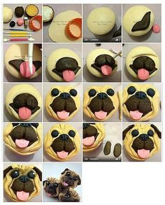How to make a Pug cupcake. Easy fondant picture tutorial, fun dog cakes for kids