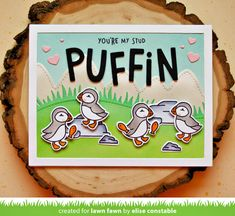 I'm back again to share a card featuring the new Stud Puffins stamp set from Lawn Fawn ! How cute are those puffins? New Love Poems, Lawn Fawn Blog, Happy Hearts Day, Lawn Fawn Stamps, Brighten Your Day, Happy Anniversary, Clear Stamps, Some Fun, Making Ideas