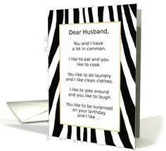 Happy Birthday, Husband, Surprise with Zebra Stripes - Humor Greeting Card