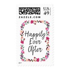 """Romantic Fairytale """"Happily Ever After"""" Wedding Postage"""
