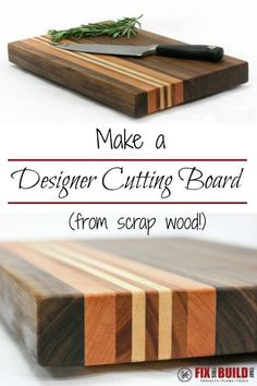 Learn Woodworking Use scrap wood you have laying around your shop to make a designer cutting board. - Learn how to make a cutting board from wood offcuts in your shop or from high quality hardwoods. Use this tutorial to build your own DIY cutting board! Woodworking Planes, Popular Woodworking, Woodworking Projects Diy, Woodworking Furniture, Diy Wood Projects, Teds Woodworking, Woodworking Techniques, Woodworking Articles, Learn Woodworking