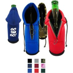 """Now """"hood"""" would have thought such a unique promotional giveaway existed? Our Collapsible Beverage Insulator fits most bottles and looks just like a hooded sweatshirt with zipper! Ideal for tailgating parties, backyard barbeques, sporting events and company picnics, these drinkware accessories are a """"refreshing"""" way to build brand awareness. Choose the color option that suits your event and add a custom imprint! PATENT# USD688,102 S."""