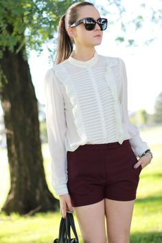 I love the romantic feel of the blouse. And I should definitely add a pair of burgundy shorts to my closet.