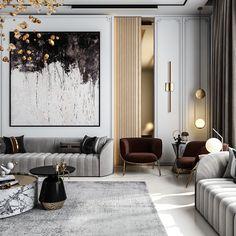Classic Living Room, Elegant Living Room, Living Room Modern, Neoclassical Interior Design, Home Interior Design, Home Design Living Room, Living Room Interior, Modern Classic Interior, Decoration