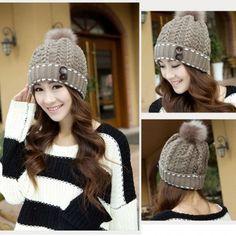 Women's Winter Warm Hats Braided Crochet Hats Ski Beanie Caps Earmuff Knitting Cap