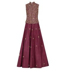 Maroon Butta Anarkali with Embroidered Waist Coat available only at... (17.275 RUB) ❤ liked on Polyvore featuring outerwear, coats, maroon coat, embroidered coat and purple coats