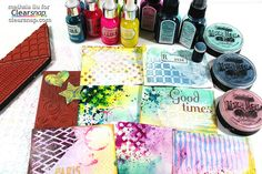 Meihsia shows how to make a colorful art journal using Izink Inks & ColorBox Spritzers.