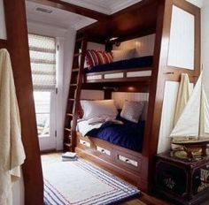 Built-in bunk beds with full size on bottom and twin on top! Perfect!