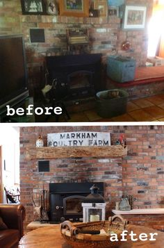 Transformation and re-design of a Chicken Farm Farmhouse. The fireplace needed to be cleaned up. A new mantle made from wood found in the barn. The old farm sign was salvaged as well. Opening up the wall into the kitchen brings in light and brightens the whole room
