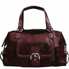 """Auth Coach Campbell Signature Metallic Satchel Used only a few times. Like new condition. Genuine Signature C Metallic in Bordeaux. 16"""" wide, 8 3/4"""" deep, 5 1/2"""" base but opening goes to 8 3/4"""". Easy to get things in and out. Has inside zippered pocket opposite inside cell phone/accessory pockets. Coach Bags Satchels"""
