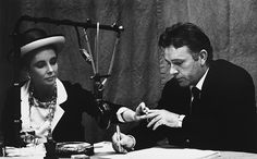 Elizabeth Taylor with Richard Burton as he recorded Under Milk Wood at the BBC radio studios in 1963