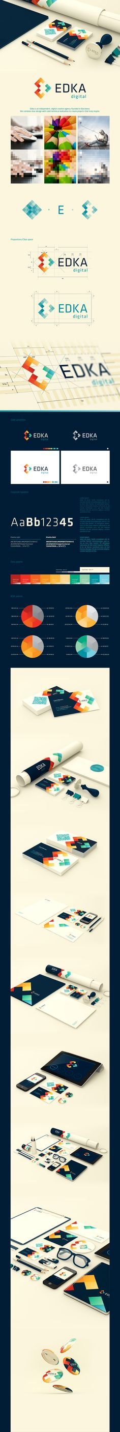 Colorful, geometric logo design for Edka Digital. The branding and corporate identity are eye-catching in this graphic design by Vio Pintilie and Camil Blanaru. Corporate Design, Brand Identity Design, Graphic Design Typography, Corporate Identity, Logo Typo, Logo Branding, Branding Process, Marketing Branding, Branding Agency
