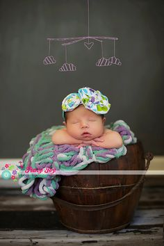 Unique Photo Props Baby Blanket. Puffy Newborn Photography Prop in Rare Purple, Grey, Green 24 x 24 by BabyBirdz