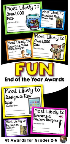 FUN End of the Year Awards!   43 Editable Awards for grades 2-6!