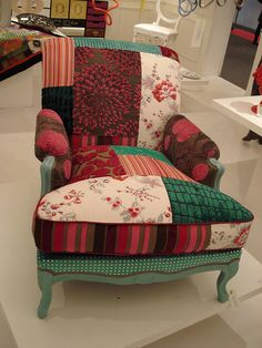 modern patchwork, chair, upholstery, Maison & Objet, furniture. I Love This!