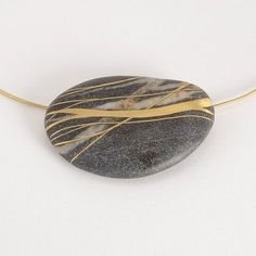 Andrea Williams Necklace, 'Repeated Meme', Beach Stone with 18k Gold Inlay from the Patina Gallery
