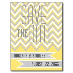 Modern chevron grey, yellow wedding Save the Date Postcard