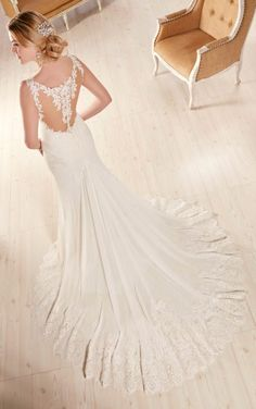 D2136 Chiffon sheath wedding dress by Essense of Australia