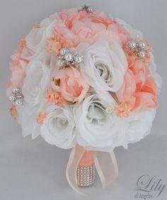 17pcs Wedding Bridal Bouquet Set Silk Flower Decoration Package WHITE PEACH
