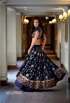 Gorgeous bridal lehenga choli by Anita Dongre. Blue Lehenga, Lehenga Style, Lehenga Choli, Bridal Lehenga, Bollywood Lehenga, Anarkali, Indian Bridal Wear, Indian Wedding Outfits, Indian Outfits