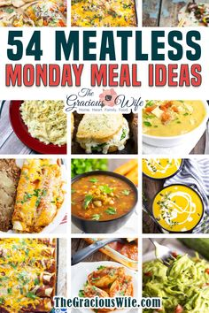54 Meatless Meals That Even Carnivores Will Love – Over a Year of Meatless Mondays! OVER A YEAR'S worth of the best Meatless Monday recipes that are easy to make, and the whole family will love! Easy, budget friendly vegetarian dinner recipes that will make you wish every day of the week was Meatless Monday! | The Gracious Wife @thegraciouswife #meatlessmondayrecipes #easymeatlessmondayrecipes #vegetarianrecipes #budgetrecipes #budgetmeals #meatlessmeals #thegraciouswife Vegetarian Recipes Dinner, Supper Recipes, Easy Dinner Recipes, Easy Meals, Healthy Recipes, Sweets Recipes, Snack Recipes, Easy Budget, Budget Meals