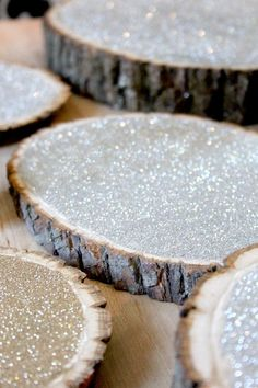 10 Perfect DIY Wedding Ideas on a Budget 10 Perfect DIY Wedding Ideas on a Budget,Hochzeit diy glittering rustic wedding decor, wooden wood slice centerpiece table decor Homemade Wedding Decorations, Silver Wedding Decorations, Christmas Wedding Centerpieces, Winter Party Decorations, Rustic Diy Wedding Decor, Diy Wedding Crafts, Rustic Centerpiece Wedding, Rustic Winter Decor, Glitter Decorations
