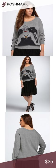 "Torrid Disney Ursula pullover sweater Sz 1X Torrid- new with no tags. Sz 1- Ribbed trim adds that body language that Ursula loves so much; the Ursula graphic adds a sassy touch to the cozy style.   Model is 5'9.5"", size 1 Size 1 measures 30"" from shoulder Cotton Wash cold, dry flat Imported plus size sweater torrid Sweaters Crew & Scoop Necks"