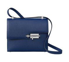 "Verrou 21 Hermes clutch bag in Epsom calfskin Palladium plated lock shape closure Two pockets Measures 8"" x 6"" x 2"" Color : sapphire blue"