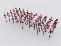 3D 50 Uk Road Traffic Signs - 3D Model