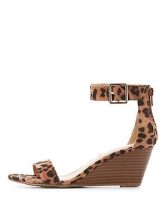 168cee14d49b5e Leopard Print Two-Piece Wedge Sandals Leopard Print Sandals