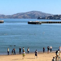 Aquatic Park - San Francisco.  Can you see swimmers in the water?