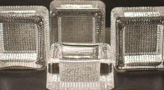 Vintage Pukeberg Art Glass Sweden 4 Square Clear Ashtrays NIB 1960s #Pukeberg