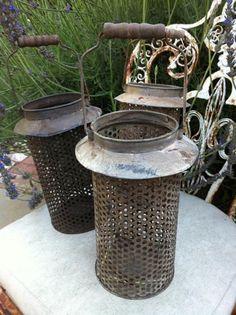 vintage weave french zinc lanterns~