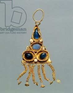 Gold, enamel and glass earring, Crimea, Jewelry, Sarmatic Civilization, 1st-2nd Century