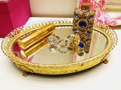 Vanity Tray Mirror Vintage Bedroom Dresser Vanity Holder Gold Toned via Etsy Bedroom Vanity Set, Bedroom Dressers, Dresser Vanity, Vanity Tray, Mirror Tray, Vintage Vanity, Rough Diamond, Bedroom Vintage, White Patterns