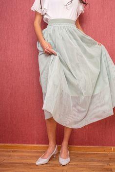 Sling-back wedges, silver-metallic - Paul Green Paul Green, Waist Skirt, High Waisted Skirt, Wedges, Rock, My Style, Metal, Skirts, Wedding