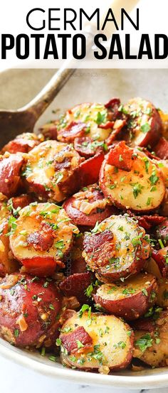 The BEST German Potato Salad dressed in a mustard-bacon vinaigrette and loaded bacon for the ultimate simple, tangy, smoky, and sweet side! Hot Potato Salads, Potato Dishes, Potato Recipes, Easy Potato Salad, Side Dishes Easy, Side Dish Recipes, German Side Dishes, Easy Recipes, Easy Salads