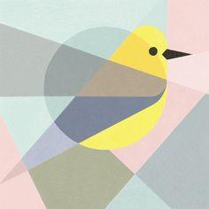 Geometric birds (Procreate-iPad Pro) on Behance Geometric Bird, Geometric Painting, Vogel Illustration, Graphic Illustration, Bird Design, Design Art, Bathroom Artwork, Wall Painting Decor, Cubism Art