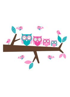 Four Owls On Branch Pink