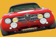 Alfa Romeo Junior, Alfa Romeo Gta, Alfa Romeo Giulia, American Wings, Wall Art For Sale, Automotive Art, Vintage Cars, Volkswagen, Classic Cars