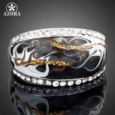 AZORA Platinum Plated Stellux Austrian Crystal Black and White Pattern Ring TR0013