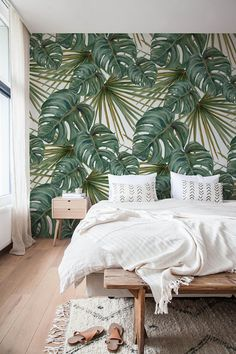 Monstera Leaf Wallpaper, Removable Wallpaper, Monstera Wallpaper, Monstera Leaves, Jungle Wall Decor - Decoration For Home Tropical Bedrooms, Temporary Wallpaper, Boho Bedroom Decor, Bedroom Ideas, Bedroom Designs, Decor Room, Bohemian Bedrooms, Luxury Bedrooms, Cosy Bedroom