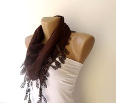 scarf cotton brown scarf women fashion accessory  spring by seno, $15.00