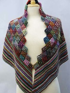 Even though this is a knitted shawl, I think it could just as easily work in Tunisian Crochet :-) Irina's Shawl Knit Pattern use silk or bamboo and elongate point in back Poncho Au Crochet, Tunisian Crochet, Knit Or Crochet, Knitted Shawls, Crochet Scarves, Crochet Clothes, Crochet Edgings, Shawl Patterns, Knitting Patterns
