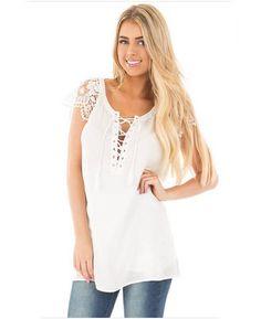 0657fefd24ac16 V-Neck White Bandages Lace T-shirt Tops