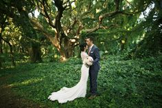 Forest Forehead Kiss-- newlywed photo shoot in Maui Forest by Anna Kim Photography- featured on Hawaii Bride & Groom Style