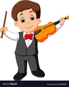 Little boy playing violin Royalty Free Vector Image Yoga Cartoon, Cartoon Kids, Cartoon Images, School Pictures, Cute Pictures, Community Helpers Worksheets, Teacher Cartoon, Writing Posters, Bff Drawings